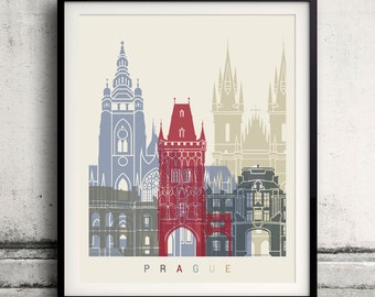 Prague skyline poster - Fine Art Print Landmarks skyline Poster Gift Illustration Artistic Colorful Landmarks - SKU 1854