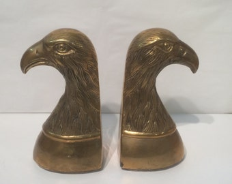 Pair of Vintage Brass Eagle Bookends