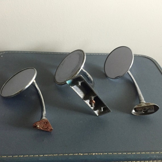 Vintage Side Mirrors : Vintage chrome round automobile side view mirrors group of