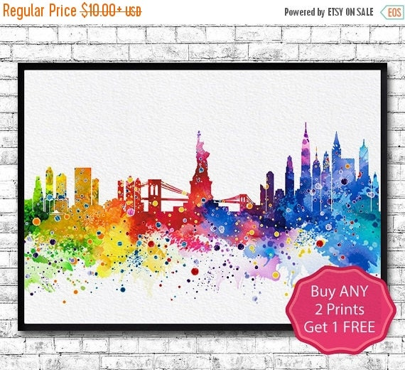 Watercolor New York: 30% OFF New York Watercolor Print City Skyline New By
