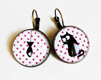 Stud Earrings * table! * cat polka dots pink white black fish, glass cabochon