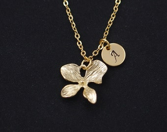 initial necklace, orchid necklace, gold flower charm,bridesmaid jewelry, bridesmaids gifts, mothers gift, flower girl gift, everyday jewelry