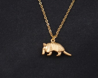 armadillo necklace, long necklace option, gold armadillo charm on gold plated chain, animal pendant, cute animal, armadillo jewelry, baby