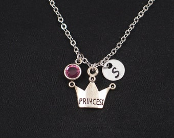 princess crown necklace, initial necklace, birthstone necklace, silver crown charm, monarchy, royal, queen, princess jewelry, gift for her