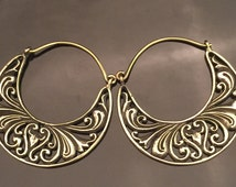 Brass filigree hoops earrings stretched ears