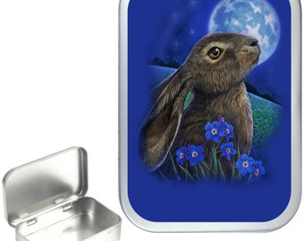 Blue Rabbit Moon 1oz silver hinged tobacco tin,pill box,storage tin