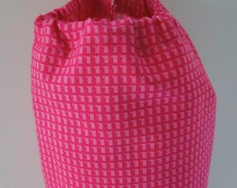 Plastic Bag Holder / Bag Storage - Pink Geometric Fabric