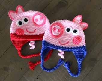 Crochet Pattern Pig Hat : Crochet pig hat Etsy