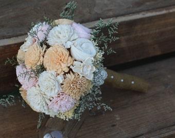 Sola bouquet, wedding bouquet, bridal bouquet, sola flower bouquet, keepsake flowers, rustic wedding, peach tan sola, wedding flowers