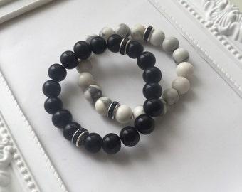 Matte onyx howlite gemstone childrens bracelet. Meditation stones healing bracelet. Gift for children gift for boys yoga beads