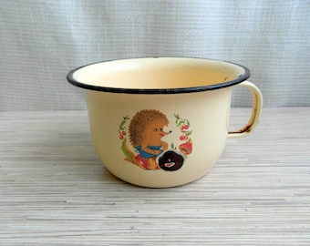 Enamel Child Chamber Pot Tan Black Trimmed With Hedgehog On Both Sides Rare Soviet Child's Chamber Pot With Handle Enamel Chamber Pot