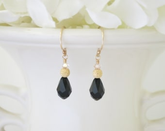 Swarovski crystal teardrop earring, Black and gold bridal earring, Simple black crystal wedding earring