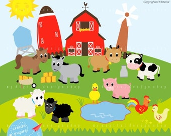 Old MacDonald Clipart, Vector EPS, PNG Image, Farm Animals, Scrapbooking Farm, Barn, Windmill, Cows, Sheep, Duck, Chicks, Baby Animals |C055