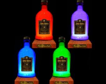 Aberfeldy 21 Year Whisky Multicolour LED Bottle Lamp. Unique Gift, Gifts For Men, Bottle Light, Bar Lighting, LED bottle.DiamondLiquorLights