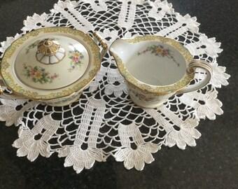 NORITAKE LUCINE pattern Creamer and Sugar Bowl   Circa 1931  Discontinued # 86215