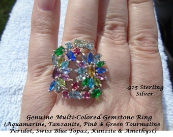 Genuine Mulit-Colored Gemstones Or London Blue Topaz Ring