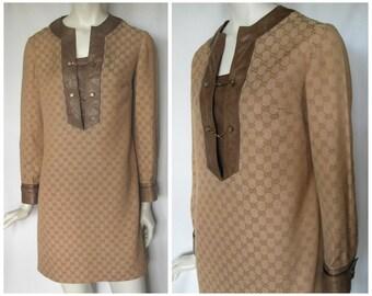 Vintage 70s Gucci dress, vintage 1970s dress, tan shift dress, Gucci logo dress, Gucci shift dress