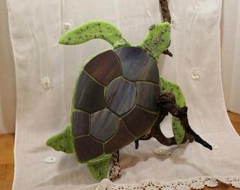 Fused Glass Sea Turtle on driftwood