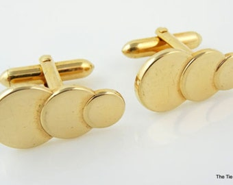 Swank Vintage Cufflinks Art Deco Gold Tone Circles Cuff Links