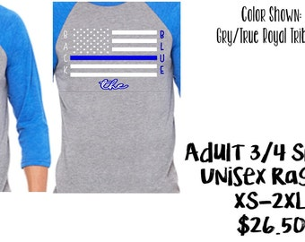 United We Stand/Back the Blue 3/4 Sleeve Raglan ADULT