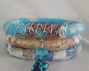 Fabric Bracelet With Beads, Fabric Bangle With Beads , Blue bracelet, Bohemian Bracelet, Stacking Bracelet
