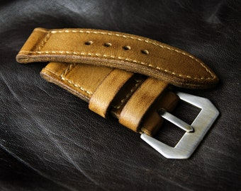 Leather Watch Strap, Panerai Vintage Style // Mustard Color Full Grain Soft Leather // Made to Order