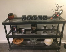 Modern Industrial Steel Welded Shelf with Casters/Wall, Hall, or Sofa Shelf/Dining Room Buffet Table/Rustic Loft Decorations/Urban Furniture