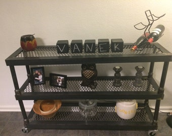 Modern Industrial Steel Welded Shelf With Casters Wall Hall Or Sofa