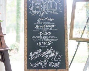 Dinner Menu Chalkboard, Wedding Menu Board, Dinner Menu for Wedding Reception, Menu Board, Rustic Wedding Decor, Hand Lettered Chalkboard
