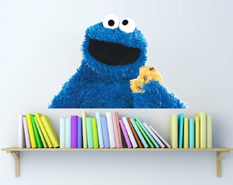 Cookie Monster Kids Bedroom Decor Wall Sticker Decals Murals, Cookie Monster Decal Cookie Moster Wall Design Sesame Street Wall Decal, b47
