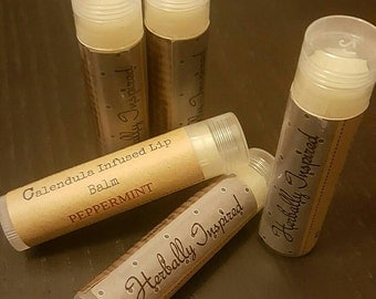 Calendula infused Lip Balm with Peppermint Essential Oil, Mango and Shea Butter