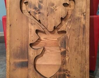 Deer Wood Art (deer wood silhouette, woodland nursery decor, deer decor, wood deer, reclaimed wood sign, palette sign)