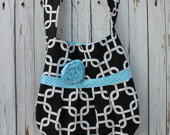 Black and Turquoise Pleated Bag, Pleated Bag with a Shoulder Strap, Shoulder Strap Tote, Ready to Ship