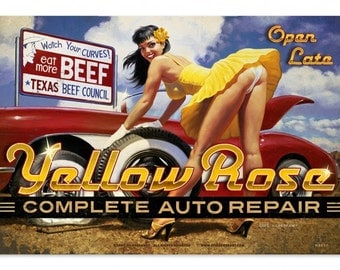 Yellow Rose Auto Repair Pinup Girl metal sign, vintage style retro gas oil garage art wall decor hb011
