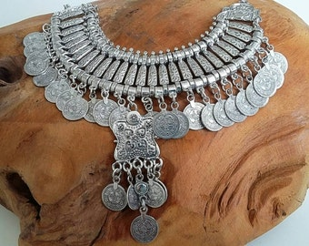 Bohamian /New Hippie/ Chic/Coins /Festival/ Necklace/Big.