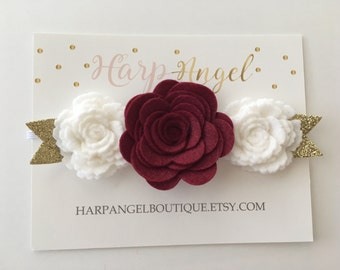Maroon & White Wool Felt Flower Crown Headband Hair Bow or clip Newborn / Baby / Toddler / Girls / Adult