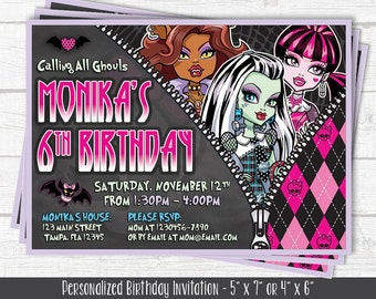 Monster High Inspired Invitation - Birthday Invitation - Personalized Birthday Invitation - DIGITAL FILE
