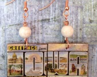 Up-cycled Iowa Postcard Earrings, decoupage earrings, cereal box earrings
