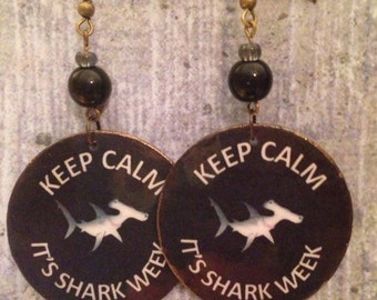Shark Week Earrings! Up-cycled, hammerhead shark, decoupage earrings