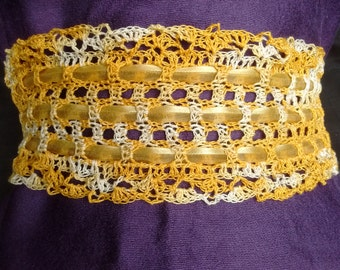 Knitted crochet obi belt 3.5 inches  wide lace obi corset belt ribbon tie gold yellow white lacy