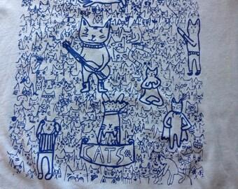 Light Blue Silkscreen Cat T-Shirt Womens Large