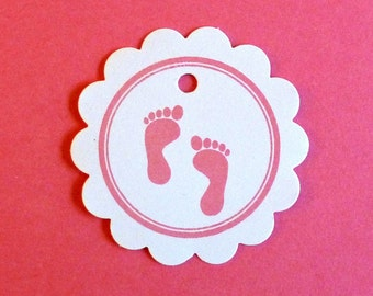50 baby shower tags shower gifts new mom baby gifts scallop tags new mother pink footprints baby feet baby footprint small tags circle tags