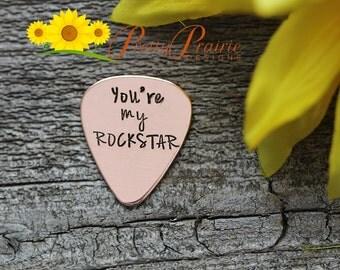 Band Gift - You're my Rockstar Guitar Pick - Custom Made Guitar Pick - Gift for Boyfriend or Girlfriend - Custom Handstamped Present
