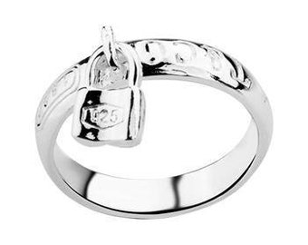 Silver Lock Charm Designer Inspired Band