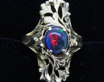 Antique Art Nouveau Ring 18k Gold Black Opal French Henri-Victor Miault (#6105)