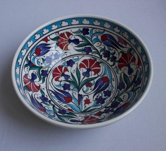 Floral Design Hand Made Ceramic Bowl, Decorative Bowl, Serving Bowl, Housewarming gift, Pottery Bowl, Colorful Bowl, Salad Bowl, Fruit Bowl.
