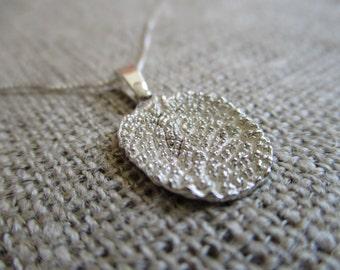 sage leaf necklace - sterling silver