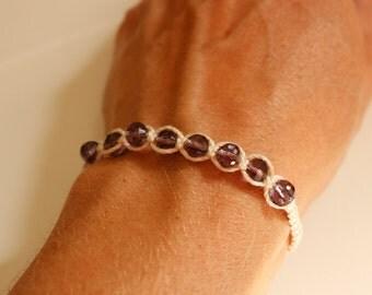small knotted bracelet, crystal friendship bracelet, stack bead bracelet, everyday jewelry