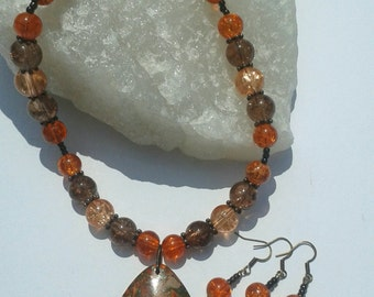 Orange is the new black necklace and earring set