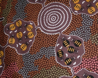 Australian Cotton Fabric, By the Half Yard, Honey Ants